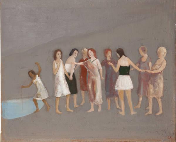 Leander Kaiser, Die Forderung, unterbrochener Kreis, Öl auf Leinwand, 90 x 110 cm, 2018