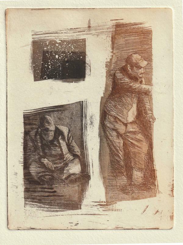 """Wolfgang Horwath, """"über-leben"""", Radierung 30x20cm Auflage 7/7+III"""