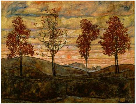 Egon Schiele: Vier Bäume